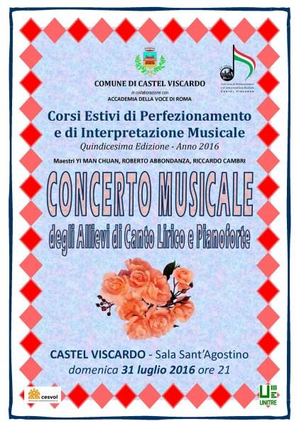 """Primo """"Concerto musicale"""" alla sala Sant'Agostino di Castel Viscardo"""