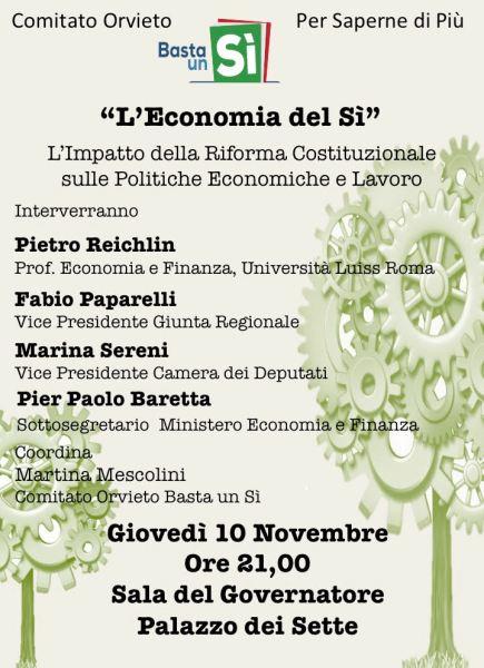 """Entriamo nel merito, iniziativa del comitato Orvieto """"Basta un Sì!"""". Per saperne di più"""