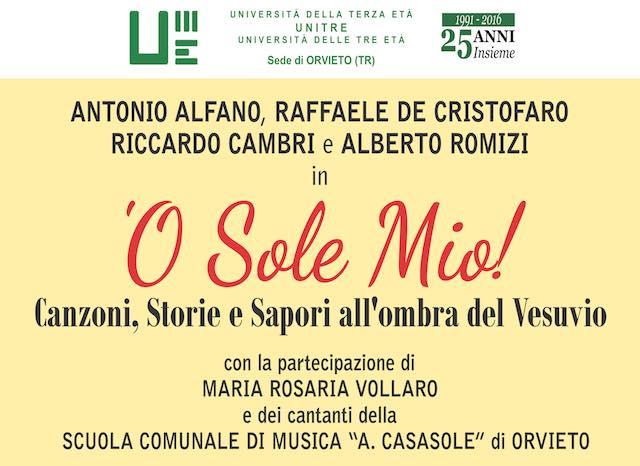 L'Unitre di Orvieto canta Napoli con il format: 'O sole mio! Canzoni, Storie e Sapori all'ombra del Vesuvio