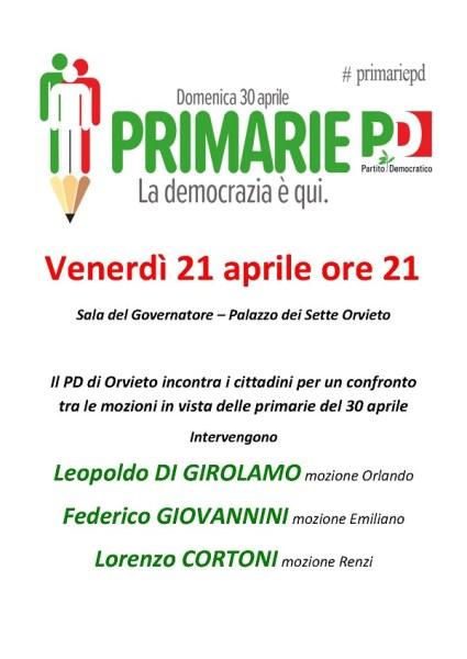 Primarie Pd, domenica 30 aprile il partito incontra i cittadini