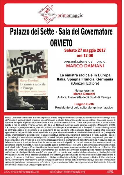 """""""La sinistra radicale in Europa, Italia, Spagna Francia, Germania"""", il libro di Marco Damiani"""