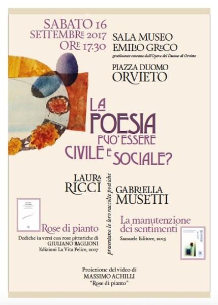 La Poesia può essere civile e sociale? Laura Ricci e Gabriella Musetti presentano a Orvieto le ultime raccolte poetiche