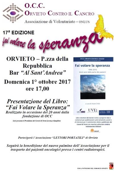 """Torna anche quest'anno """"Fai volare la speranza"""" promossa da Orvieto Contro il Cancro"""