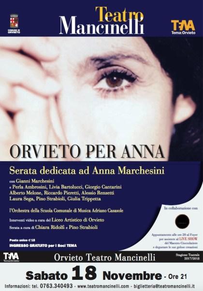 """""""Orvieto per Anna"""", la città ricorda la Marchesini con una serata speciale al Mancinelli"""
