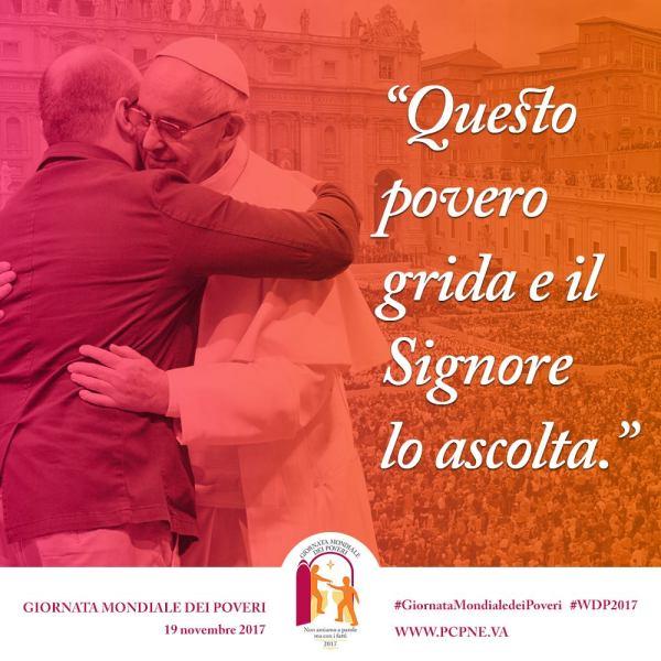 """Giornata Mondiale dei Poveri, Papa Francesco: """"Non amiamo a parole né con la lingua, ma con i fatti e nella verità"""""""