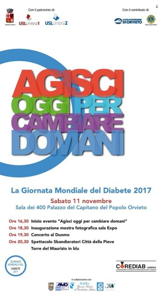 """Giornata mondiale del diabete, a Orvieto """"Agisci oggi per cambiare domani"""""""
