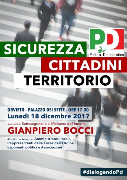 """""""Sicurezza, cittadini, territorio"""", incontro con il sottosegretario Bocci a Palazzo dei Sette"""