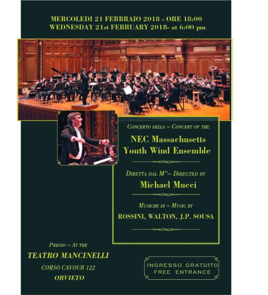 Al teatro Mancinelli in concerto la Nec's Massachusetts Youth Wind Ensemble