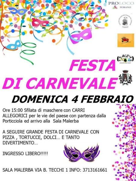 A Porano si festeggia il Carnevale con maschere e carri allegorici