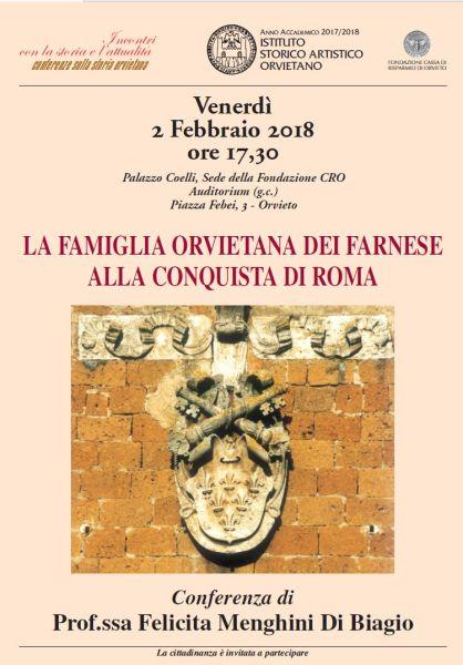 """Conferenza di Felicita Menghini Di Biagio su """"La famiglia orvietana dei Farnese alla conquista di Roma"""""""