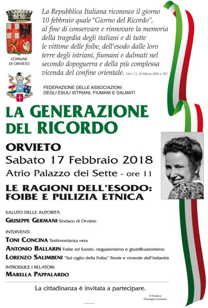 Giorno del Ricordo: a Orvieto incontro di testimonianze a Palazzo dei Sette