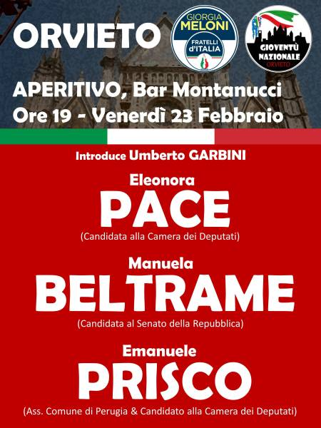 Fratelli d'Italia, aperitivo elettorale al bar Montanucci per conoscere i candidati