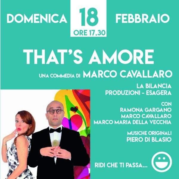 """Risate al Boni con la commedia di Marco Cavallaro """"That's amore"""""""