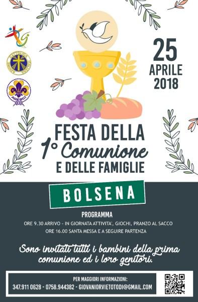 A Bolsena mercoledì 25 aprile Festa delle Prime comunioni e delle Famiglie.
