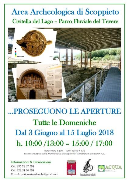 Area Archeologica di Scoppieto aperta nei mesi di giugno e luglio