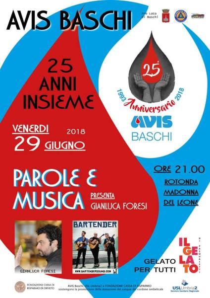"""""""Parole e musica"""", l'Avis di Baschi festeggia i 25 anni di attività"""