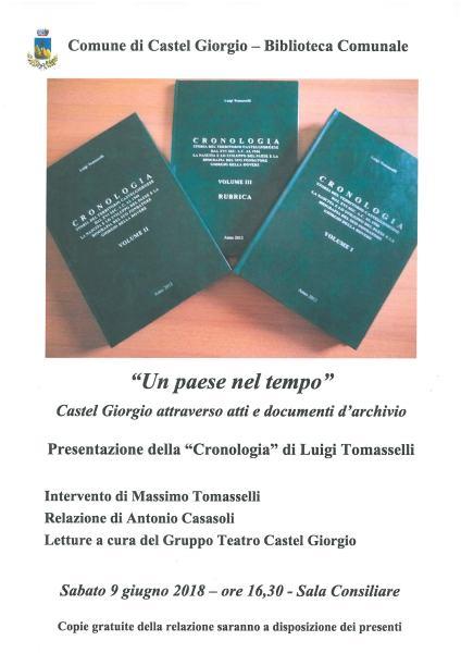 """Castel Giorgio, in ricordo di Luigi Tomasselli Comune e biblioteca presentano la sua """"Cronologia"""""""