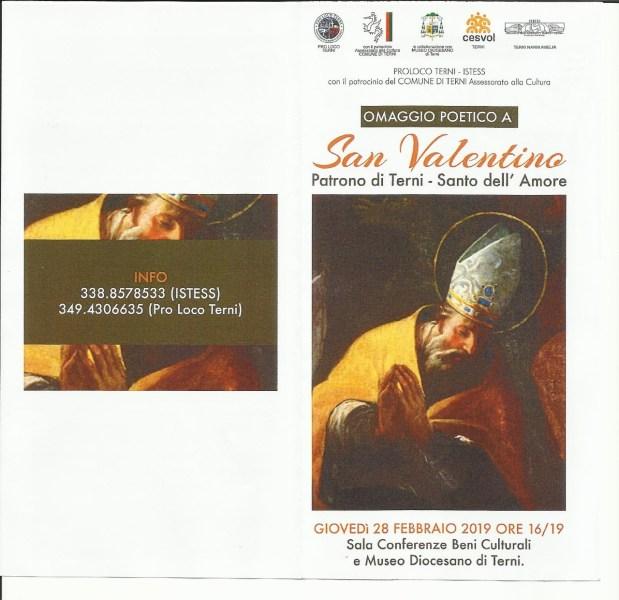 Omaggio poetico a San Valentino patrono di Terni, organizzato da Pro Loco di Terni e l'Istess