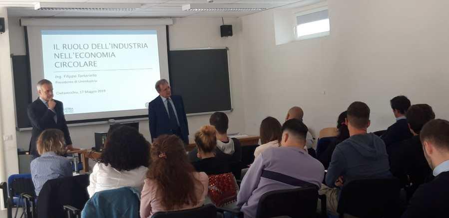 Lezione del presidente di Unindustria al Corso di Laurea Magistrale in Economia circolare presso l'Unitus di Civitavecchia