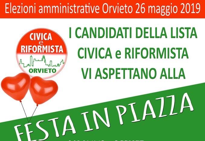 """Festa in Piazza con la """"Lista Civica e Riformista"""""""