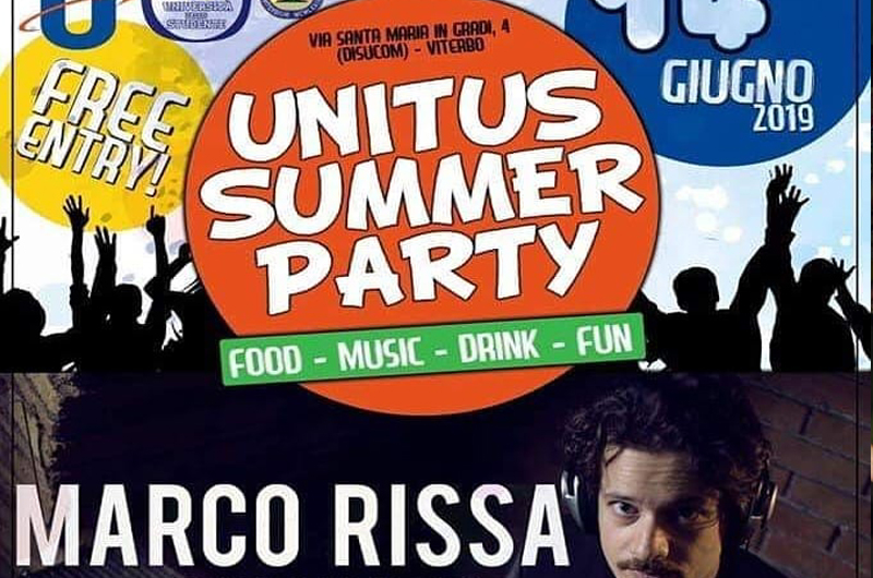 "Unitus Summer Party 2019, special guest Marco Rissa from ""Thegiornalisti"""