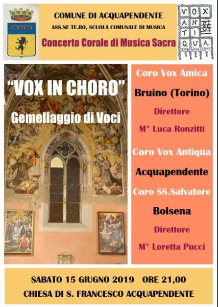 """Il coro aquesiano """"Vox Antiqua"""" incontra quello di torinese, per il concerto """"Vox in Choro"""" alla Chiesa di San Francesco di Acquapendente"""