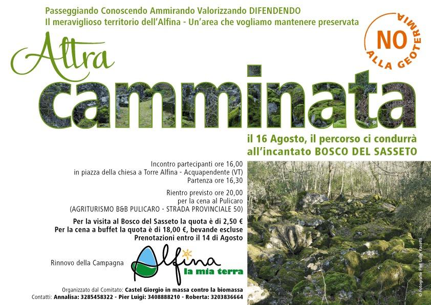 Altra camminata sull'Alfina per ribarire il No a: geotermia, biomasse e colture intensive