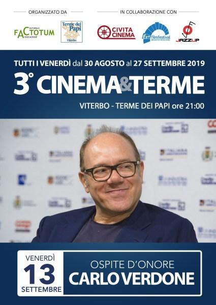 A Viterbo Cinema&Terme presenta degli ospiti imperdibili, si parte con Carlo Verdone