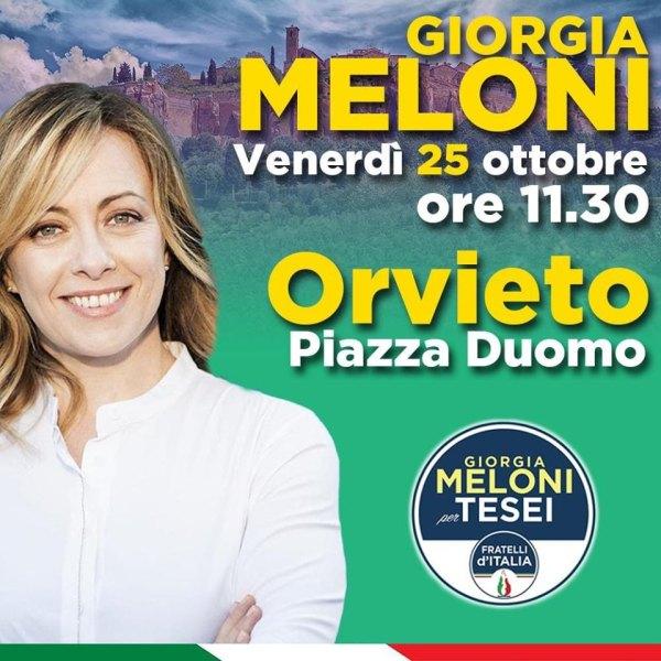 Giorgia Meloni a Orvieto a sostegno di Tesei