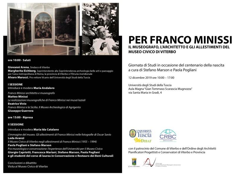 Giornata studio all'Unitus di Viterbo dedicata a Franco Minissi per il suo centenario
