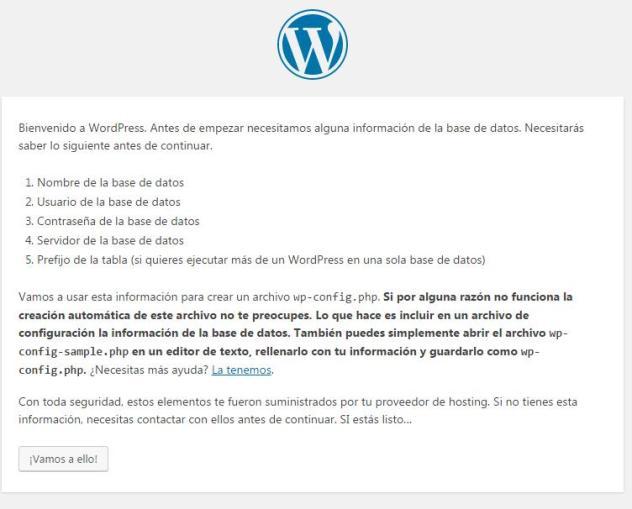Inicio de la instalación de WordPress