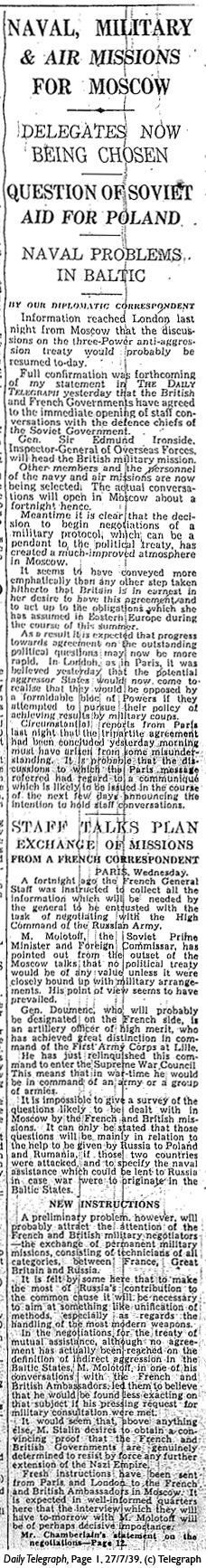 Daily Telegraph 27-7-39 Page 1