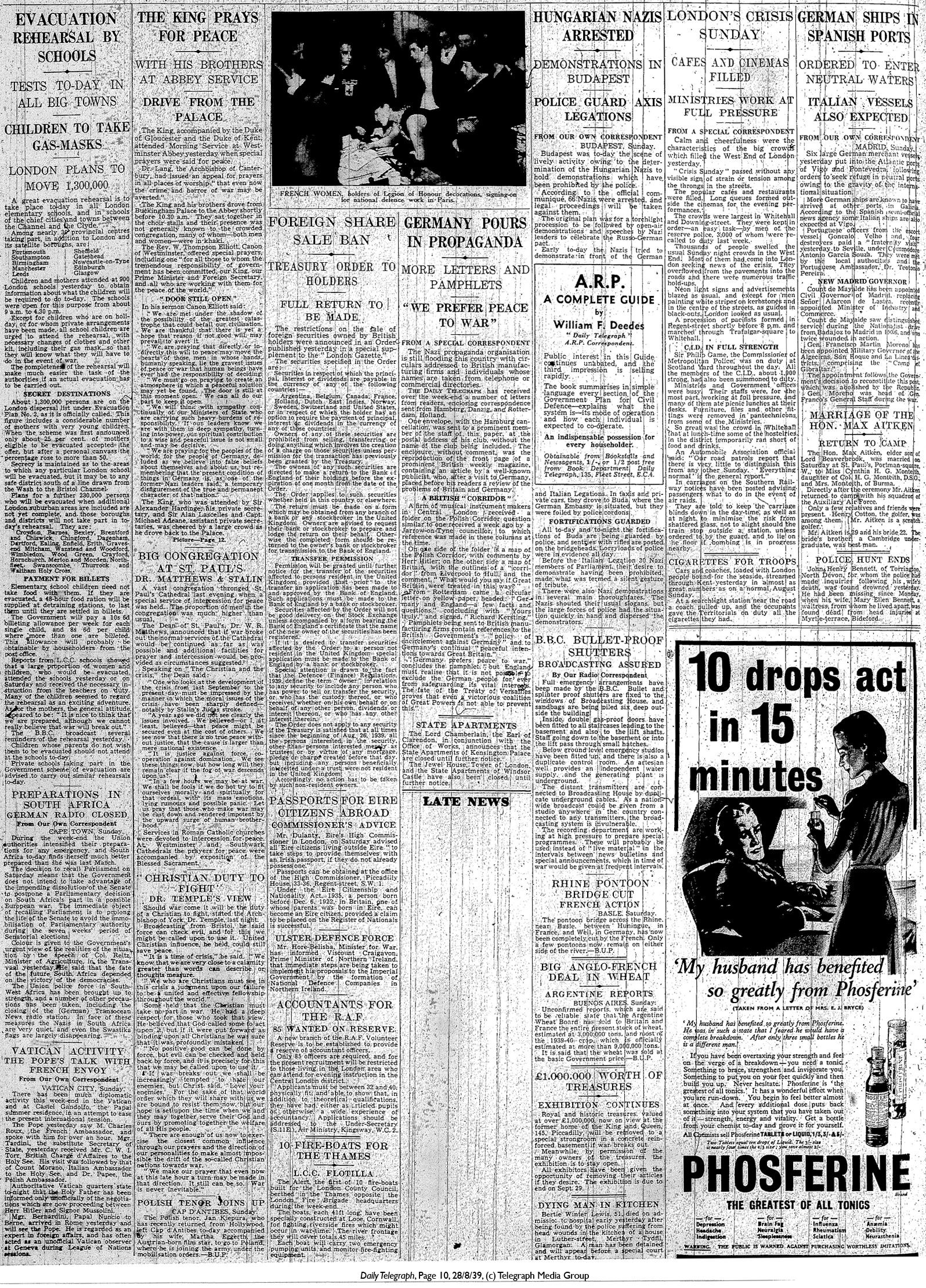 Daily Telegraph 28-8-39 Page 10