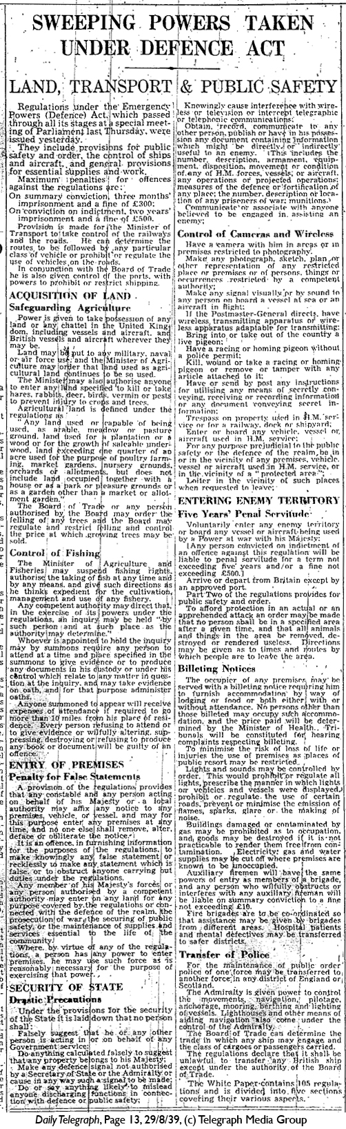 Daily Telegraph 29-8-39 Page 13
