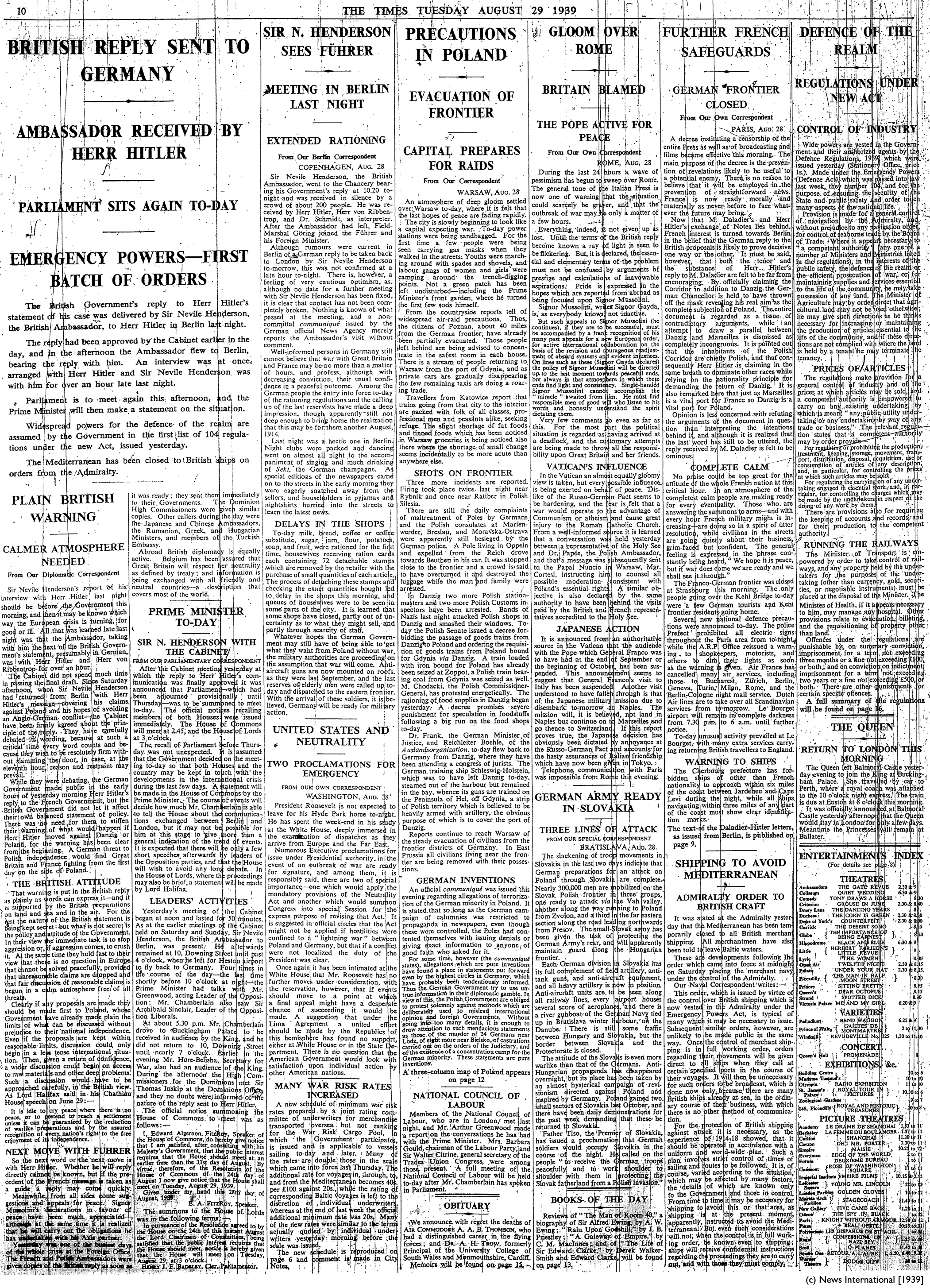 The Times 29-8-39 Page 10