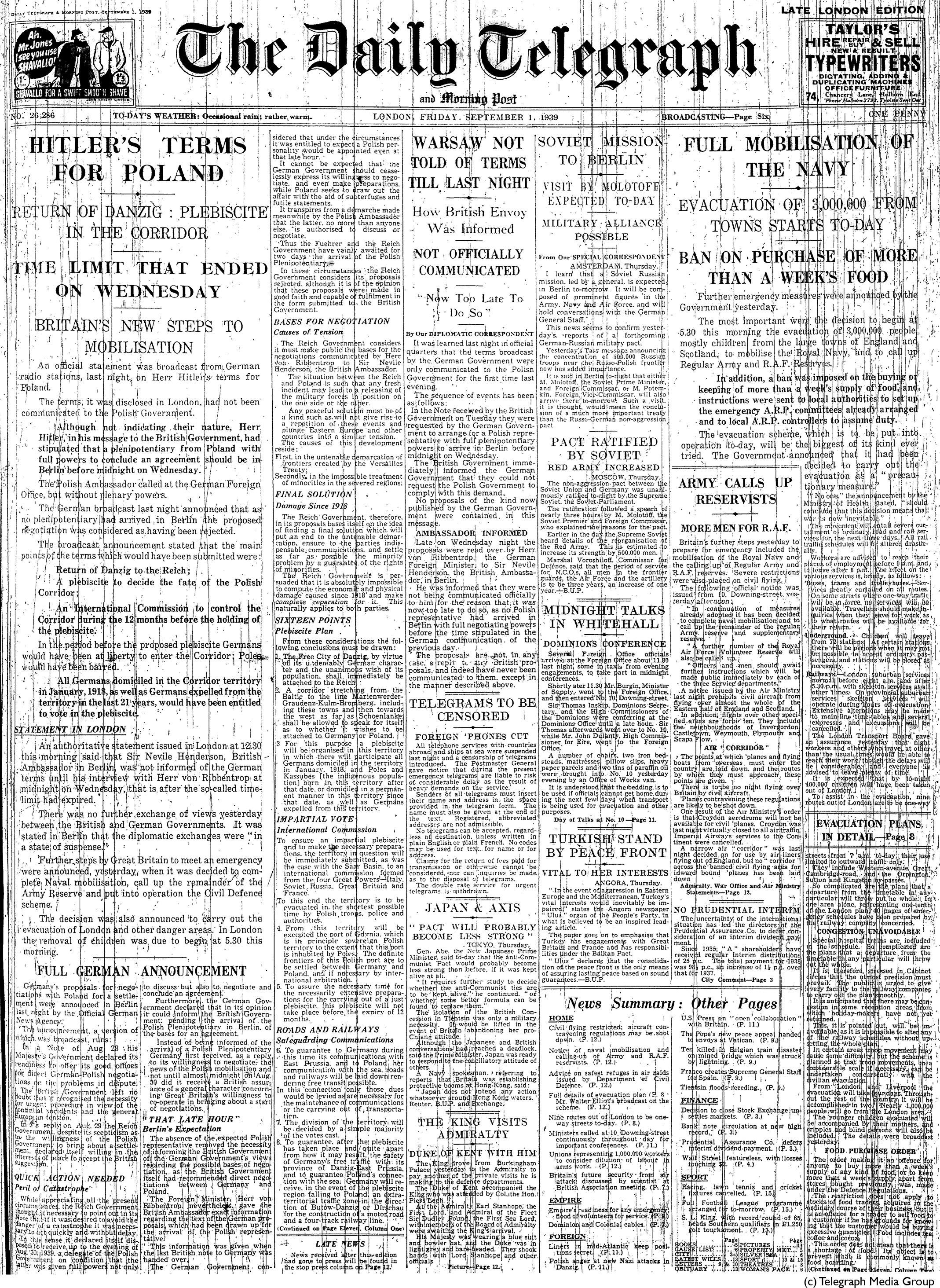 Daily Telegraph 1-9-39 Page 1