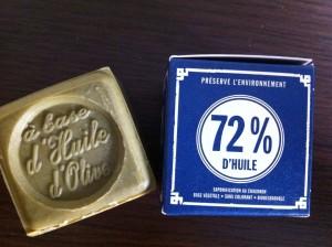 マリウスファーブルのマルセイユ石鹸。オリーブオイル72%の最高級品。100g5ユーロ。水の硬いフランスで大活躍してくれるで しょう。