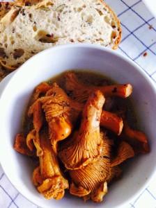 包丁のないキッチンで、フランスのジロル茸をバター蒸しで楽しむ。