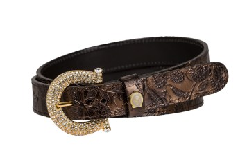 crystal buckle gold bronze