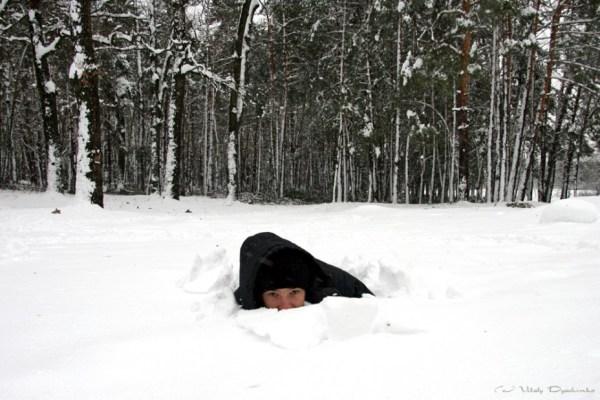 Фото зима, снег, парень, мороз