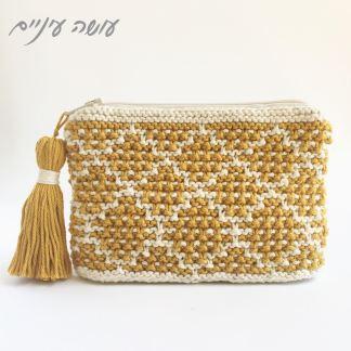 עושה עיניים - ארנק סרוג בשתי מסרגות || Osa Einaim -knitted purse - mosaic blanket pattern