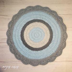 עושה עיניים - סיומת מניפות לשטיח טריקו || OsaEinaim - Crochet fans edge for t-shirt yarn round rug