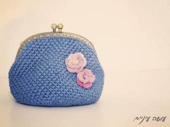 עושה עיניים - ארנק סרוג במסרגה אחת    OsaEinaim - crochet purse