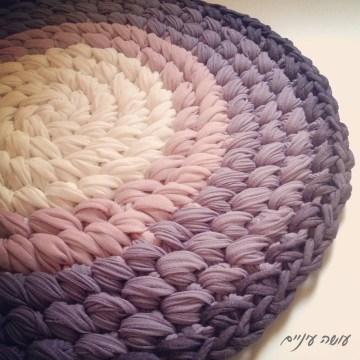 טכניקת שטיח ופוף איקסים מחוטי טריקו - עושה עיניים || T-shirt yarn / Trapillo Crochet rug