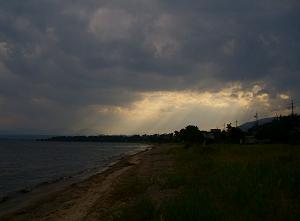 Sunset near Makino over Lake Biwa