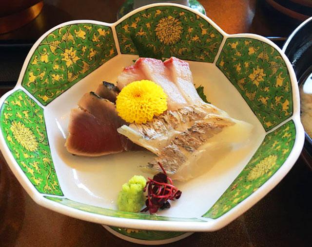 あくら御膳,お刺身の三種盛り合わせ,ひいなの湯,加太,淡島,