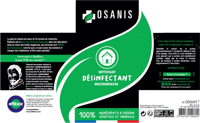OSANIS Nettoyant Désinfectant Multisurfaces etiquette