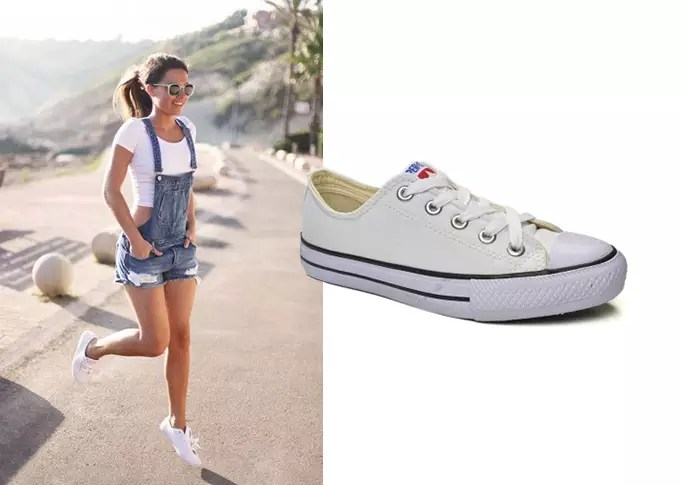 look com o tenis superstar branco