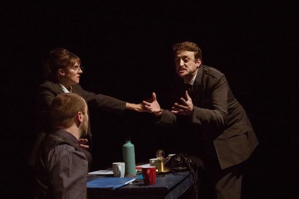 No Limit, Répétitions au Grand Palais, Paris. Mise en scène Robin Goupil assisté par Arthur Cordier. Stanislas Perrin, Laurène Thomas & Augustin Passard.