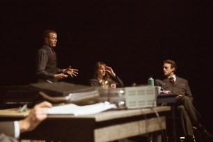 No Limit, Répétitions au Grand Palais, Paris. Mise en scène Robin Goupil assisté de Arthur Cordier. Augustin Passard, Laurène Thomas & Stanislas Perrin.